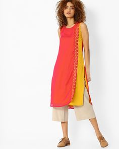 AVAASA MIX N' MATCH Pink & Yellow Straight Kurta with Overlay