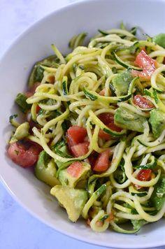 Zucchini Noodle, Tomato & Avocado Salad