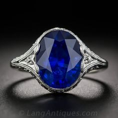 4.89 Carat Ceylon Sapphire Diamond Platinum Art Deco Ring | From a unique collection of vintage cocktail rings at https://www.1stdibs.com/jewelry/rings/cocktail-rings/