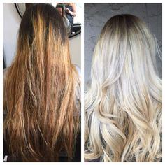 Color correction, hair color, platinum blonde