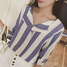 Stylish Long Sleeve Turn-Down Collar Vertical Striped Loose-Fitting Blouse For Women 7.31
