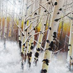 """Cropped image from my """"Winter Aspens - Above Park City""""   36x48 Acrylic on canvas  © 2011 Stewart Anstead"""