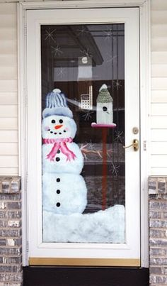 Storm Door Snowman - If I could paint, I'd do this :)