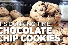 Dorothy Dean presents: It's dunking time with Jumbo Chocolate Chip Cookies Healthy Chips, Healthy Banana Bread, Healthy Cake, Healthy Muffins, Healthy Smoothies, Healthy Desserts, Choclate Chip Cookie Recipe, Healthy Chocolate Chip Cookies, Healthy Cookies