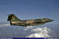 Belgian Air Force Lockheed F-104G Starfighter FX-83 of the 10th Fighter-Bomber Wing in flight in May 1981.