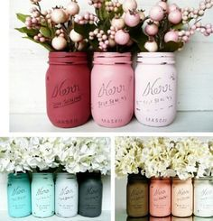 Painted mason jars in different shades, adorable for flower arrangements or table centerpieces Mason Jar Projects, Mason Jar Crafts, Mason Jar Diy, Diy Projects To Try, Craft Projects, Craft Ideas, Home Crafts, Diy And Crafts, Painted Mason Jars