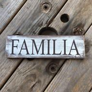 Wooden plaque. Spanish Familia. Farmhouse decorating. Wall décor Hispanic home.
