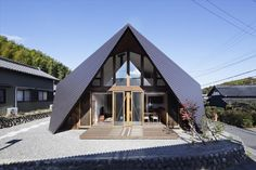 Located in Mie Prefecture, Japan in an old village surrounded by mountains, Origami house was built on a site originally owned by a young family's Grandfather who had built...