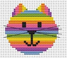 Cat Head Cross Stitch - Sew Simple Sew Simple Cat Head Starter counted cross stitch kit by Fat Cat Cross Stitch, one of their 'Sew Simple' range of designs. Suitable for beginners and children. Cat Cross Stitches, Counted Cross Stitch Patterns, Cross Stitch Designs, Cross Stitching, Cross Stitch Embroidery, Embroidery Patterns, Hand Embroidery, Cross Stitch For Kids, Cross Stitch Cards