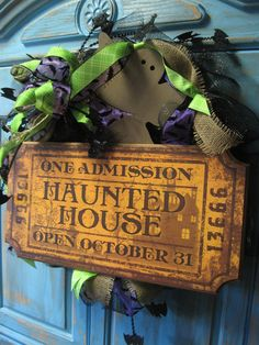 HAUNTED HOUSE TICKET large wreath w/ large bow, ghost, bats on black deco mesh wreath- Halloween wreath