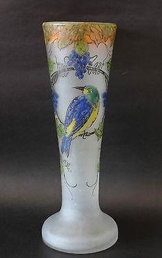 Legras Art Glass Vase France Signed Awesome Design and Colors Parrot Enamel | eBay