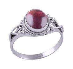 Image of Sterling silver ornate garnet ring