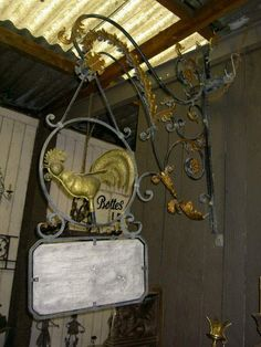 """Antique French Wrought Iron """"Le Coq"""" Sign"""