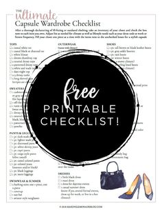 This free printable ultimate capsule wardrobe checklist is exactly what I need to put together a classic and stylish closet full of clothing I love to wear!