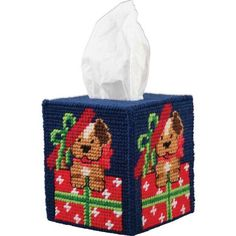 Herrschners® Best Gift Ever Tissue Box Cover Plastic Canvas Kit Plastic Canvas Box Patterns, Plastic Canvas Coasters, Plastic Canvas Tissue Boxes, Plastic Canvas Crafts, Christmas Boxes Decoration, Plastic Canvas Christmas, Tissue Box Covers, Tissue Holders, Card Holders
