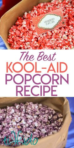 How to Make Kool Aid Popcorn: the BEST Colored Popcorn Recipe - - Recipe for making the BEST colored popcorn using Kool-aid. Itt's like a fruit flavored version of caramel corn. Popcorn Snacks, Gourmet Popcorn, Cooking Popcorn, Oreo Popcorn, Popcorn Toppings, Rainbow Popcorn, Blue Popcorn, Marshmallow Popcorn, White Chocolate Popcorn
