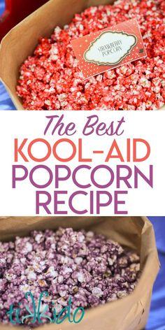 How to Make Kool Aid Popcorn: the BEST Colored Popcorn Recipe - - Recipe for making the BEST colored popcorn using Kool-aid. Itt's like a fruit flavored version of caramel corn. Popcorn Snacks, Gourmet Popcorn, Cooking Popcorn, Sugar Popcorn, Popcorn Toppings, Marshmallow Popcorn, Popcorn Cake, Kool Aid Popcorn Recipe, Easy Colored Popcorn Recipe
