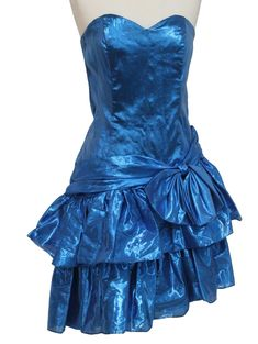 SALE Vintage Ball Gown Metallic Blue 70s 80s Prom Dress