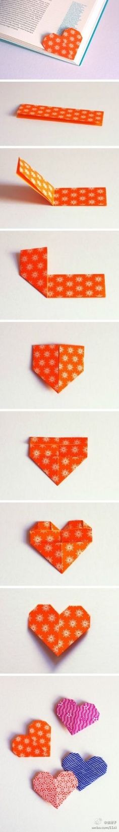 Jadi ingat jaman sekolah :) - How to Make an Origami Bookmark by howaboutorange via saifou http://howaboutorange.blogspot.com/2013/01/heart-shaped-page-marker-origami.htm #DIY #Origami #Bookmark #Heart