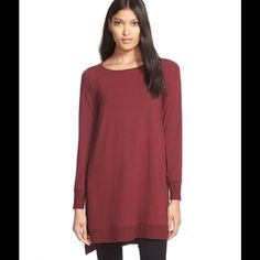 "Selling this ""Eileen Fisher Burgundy Jersey Layering Tunic"" in my Poshmark closet! My username is: scoulon. #shopmycloset #poshmark #fashion #shopping #style #forsale #Eileen Fisher #Tops"