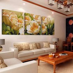 No Frame 3 Piece Tulip Wall Art Canvas Painting Wall Pictures for Living Room Flowers Home Decoration Picture Oil Painting >>> More info could be found at the image url. Multi Canvas Painting, Painting Prints, Living Room Pictures, Wall Pictures, Minimalist Painting, Oil Painting Flowers, Flower Canvas, Decorating With Pictures, Picture Wall