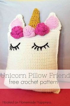 Unicorn Pillow Friend Free Crochet Pattern -This sweet Unicorn Pillow Friend Crochet Pattern is the perfect huggable size and looks so pretty sitting on a bed or shelf