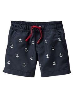 Anchor swim trunks -If Baby J is a he Baby Boys, Toddler Boys, Baby Gap, Toddler Boy Fashion, Little Boy Fashion, Baby Boy Outfits, Kids Outfits, Little Man Style, Baby Swimsuit