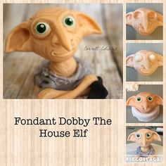 Dobby The House Elf, made from Fondant Gateau Harry Potter, Cumpleaños Harry Potter, Harry Potter Nails, Harry Potter Cupcake Toppers, Harry Potter Birthday Cake, Fondant Figures, Decors Pate A Sucre, Anniversaire Harry Potter, Harry Potter Baby Shower