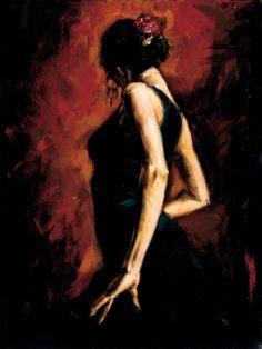 Hermosa pintura que retrata a la bailaora