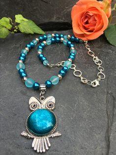 owl necklace, Made by Arja Hannele Owl Necklace, Turquoise Necklace, Jewelry, Jewlery, Jewerly, Schmuck, Jewels, Jewelery, Fine Jewelry