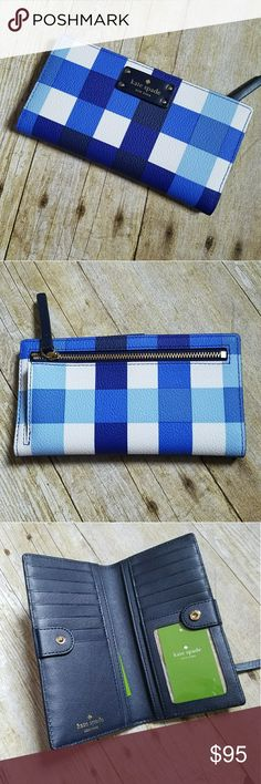 Blue an White Check Kate Spade Wallet NWT Beautiful blue and white checkered Kate Spade wallet with 13 credit card and ID slots, snap closure, and outside coin zip closure. kate spade Bags Wallets