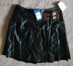 Ralph Lauren Women's Size 4 Green 100% Silk Skirt NWT MSRP $398.00 Made In China