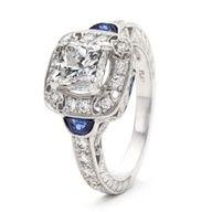 Diamond Halo and Sapphire Half Moons