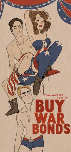 -Captain Ameerica pinup-style war bond poster fanart by saraandco-  They would sell out so fast it wouldn't even be funny...okay maybe a little funny.