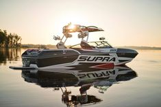 supra boat, smooth water and sunset ... #wakeboarding