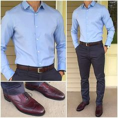 The latest men's fashion including the best basics, classics, stylish eveningwear and casual street style looks. Light Blue Dress Shirt, Light Blue Dresses, Blue Shirt Man, Blue Shirt Outfit Men, Mens White Dress Shirt, Navy Blue Dress Pants, Shirt Men, Business Outfit, Business Casual Outfits