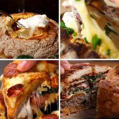 Bread Bowls 4 Ways burger. I Love Food, Good Food, Yummy Food, Delicious Recipes, Tasty Videos, Food Videos, Comida Diy, Cuisine Diverse, Bread Bowls