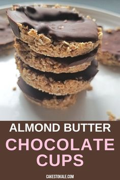 Almond Butter Chocolate cups are an easy and delicious healthy dessert. Try these healthy chocolate cups. #chocolatecups #almondbutter #healthydessert Chocolate Almond Bark, Chocolate Snacks, Chocolate Cups, Healthy Chocolate, Homemade Chocolate, Chocolate Recipes, Desserts Keto, Gluten Free Desserts, Dessert Recipes