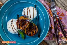 Believe us when we say this is absolutely amazing! Grilled Honey Balsamic-Glazed Fruit and Ice Cream!