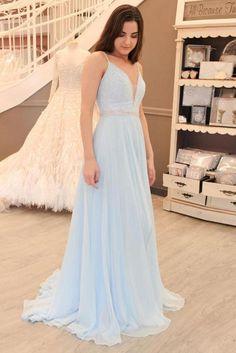 Light Blue A-line V-neck Chiffon Sweep Train Open Back Beading Prom Dress  M220 2460abf41dd3