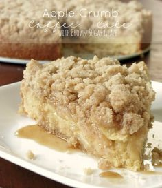 Apple Crumb Coffee Cake. Moist, flavorful crumb cake topped with sweet apple slices and a generous amount of crumb topping! All smothered in the most delicious brown sugar glaze.