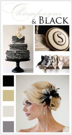 Champagne and Black Wedding | DawnCorrespondence