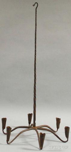 Primitive-style Wrought Iron Six-light Hanging Candelabra                 ****