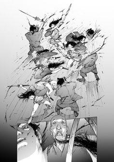 47 by Akira Miyagawa on ArtStation. Comic Book Layout, Comic Books Art, Comic Art, Manga Drawing Tutorials, Drawing Techniques, Drawing Reference Poses, Drawing Poses, Manga Combat, Fighting Drawing