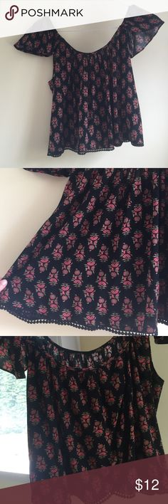 Forever 21 Bardot Too Black Bardot top with red and green flower motif. Brand new with tags. Forever 21 Tops