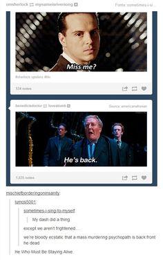 Jim Moriarty: He Who Must Be Staying Alive (Sherlock + Harry Potter) Sherlock Fandom, Sherlock Holmes, Jim Moriarty, Watson Sherlock, Sherlock Quotes, Sherlock John, Sherlock Bbc Funny, Johnlock, Martin Freeman