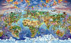 Maria Rabinky World Wonders map Poster by Rabinky, Maria 36 x Map Puzzle, Cool Wall Decor, Wonder Art, Map Painting, World Map Art, Poster Prints, Art Prints, Cool Posters, Travel Posters