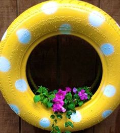 Old Tire Turned New Outdoor Element All Seal With Flex Colors Yellow And White