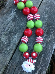 Santa Claus Chunky Bubblegum Necklace Red by MissKittensBoutique, $19.00