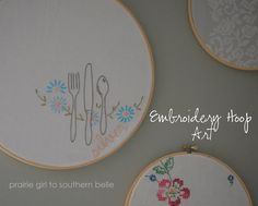 I've been seeing these cute embroidery hoop wall hangings all over the place this year.  I even picked up a few last fall.  Today I finally...